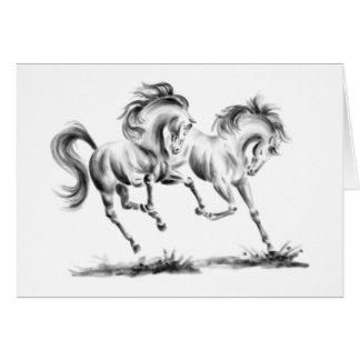 Cartão Cavalos Frolicking que tiram pela cisne de Kelli