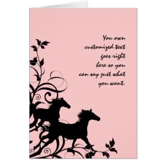 Cartão Cavalos selvagens pretos