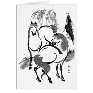 Cartão Cavalos sob uma árvore de salgueiro