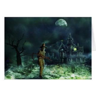 Cartão Ceifador assustador do Dia das Bruxas e casa