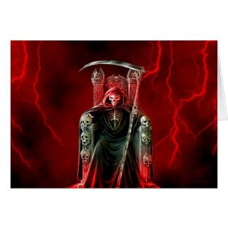 Cartão Ceifador do aniversário em seu trono