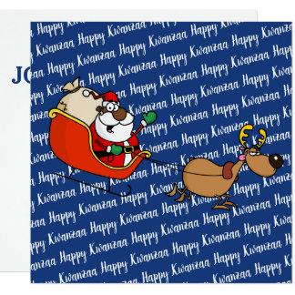 Cartão Celebração de Papai Noel Kwanzaa do afro-americano