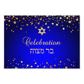 Cartão Celebração de PixDezines Mitzvah, confete do ouro