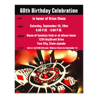 Cartão Celebração do aniversário do tema do casino 60th