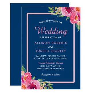 Cartão Celebração floral cor-de-rosa roxa do casamento