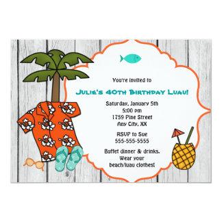 Cartão Celebração havaiana da praia da festa de