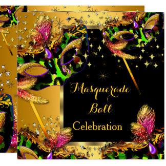 Cartão Celebração mascarada do ouro do partido da bola de