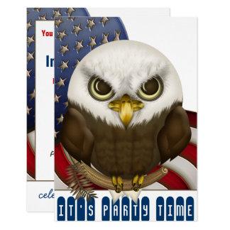 Cartão Celebração patriótica da águia americana bonito