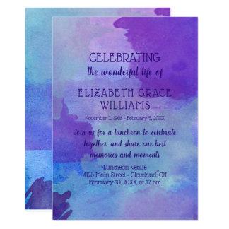 Cartão Celebração roxa & azul da vida da aguarela