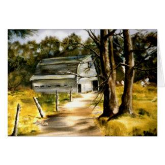 Cartão Celeiro da casa da quinta em pintura a óleo