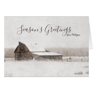 Cartão Celeiro de Michigan do inverno dos cumprimentos da