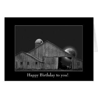 Cartão celeiro e silo aniversário-velhos com Lua cheia