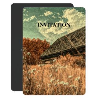 Cartão celeiro velho da fazenda do wildflower do campo do
