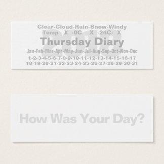 Cartão Celsius do diário de 2018 quintas-feiras