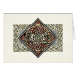 Cartão celta de Gryphons da arte
