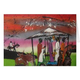 Cartão Cena africana da natividade do Natal