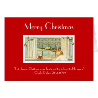 Cartão Cena antiquado/alegre do Natal-Vintage