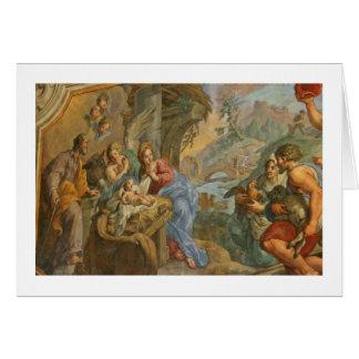 Cartão Cena católica da natividade do vintage
