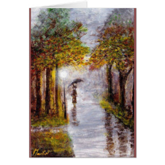 Cartão Cena chuvosa do dia do outono, senhora com