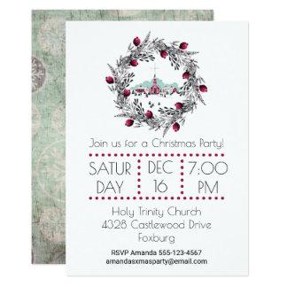 Cartão Cena da igreja do inverno do vintage com grinalda