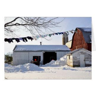 Cartão Cena da lavanderia do inverno de Amish