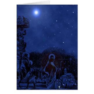 Cartão Cena da natividade da noite estrelado
