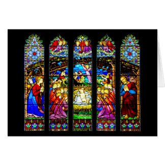 Cartão Cena da natividade do vitral