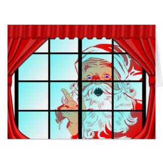 Cartão Cena desproporcionado da janela do papai noel do