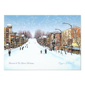 Cartão Cena do blizzard, Albion Michigan