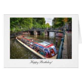 Cartão Cena do canal de Amsterdão - feliz aniversario
