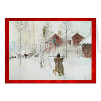 Cartão Cena do inverno do vintage de Carl Larsson do