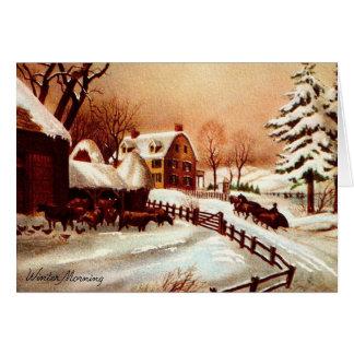 Cartão Cena do país do inverno dos anos 30 do vintage