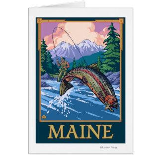 Cartão Cena do pescador de MaineAngler