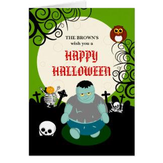 Cartão Cena do zombi do Dia das Bruxas da Lua cheia dos
