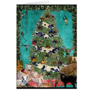 Cartão Cena festiva da natividade