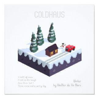 Cartão Cena invernal - arte do pixel