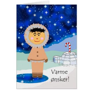 Cartão Cena norueguesa do inverno do Natal, do esquimó e