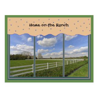 Cartão cénico da janela da vida do rancho