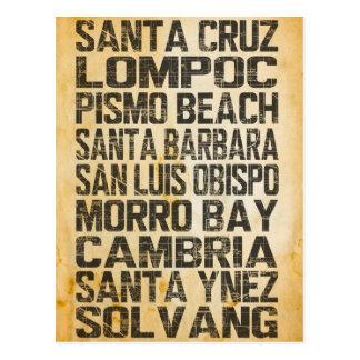 Cartão central da costa de Califórnia