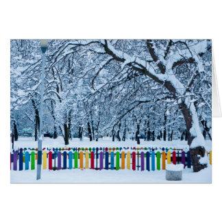 Cartão Cerca colorida do inverno
