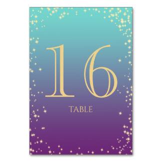 Cartão Cerceta de Ombre da faísca e número roxo da mesa