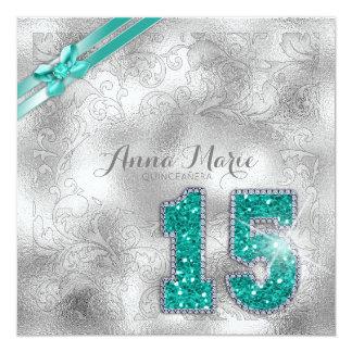 Cartão Cerceta ID382 do aniversário de brocado de prata
