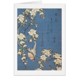 Cartão Cereja e Bullfinch Weeping, Hokusai, 1834