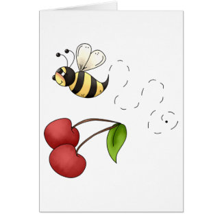 Cartão Cerejas do país · Abelha & cerejas