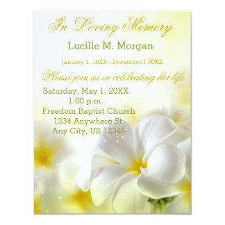 Cartão Cerimonia comemorativa floral amarela do funeral |