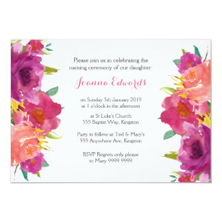 Cartão Cerimónia de nomeação floral da aguarela