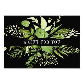 Cartão Certificado de presente botânico verde selvagem do