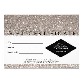 Cartão Certificado de presente de prata do salão de