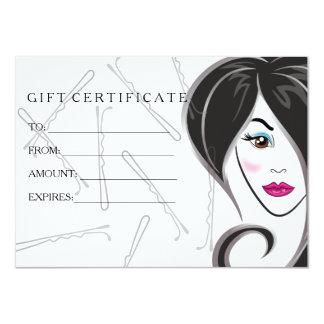 Cartão Certificado de presente do cabeleireiro da menina