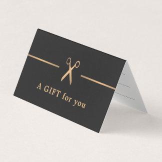 Cartão Certificado de presente elegante do cabelo escuro